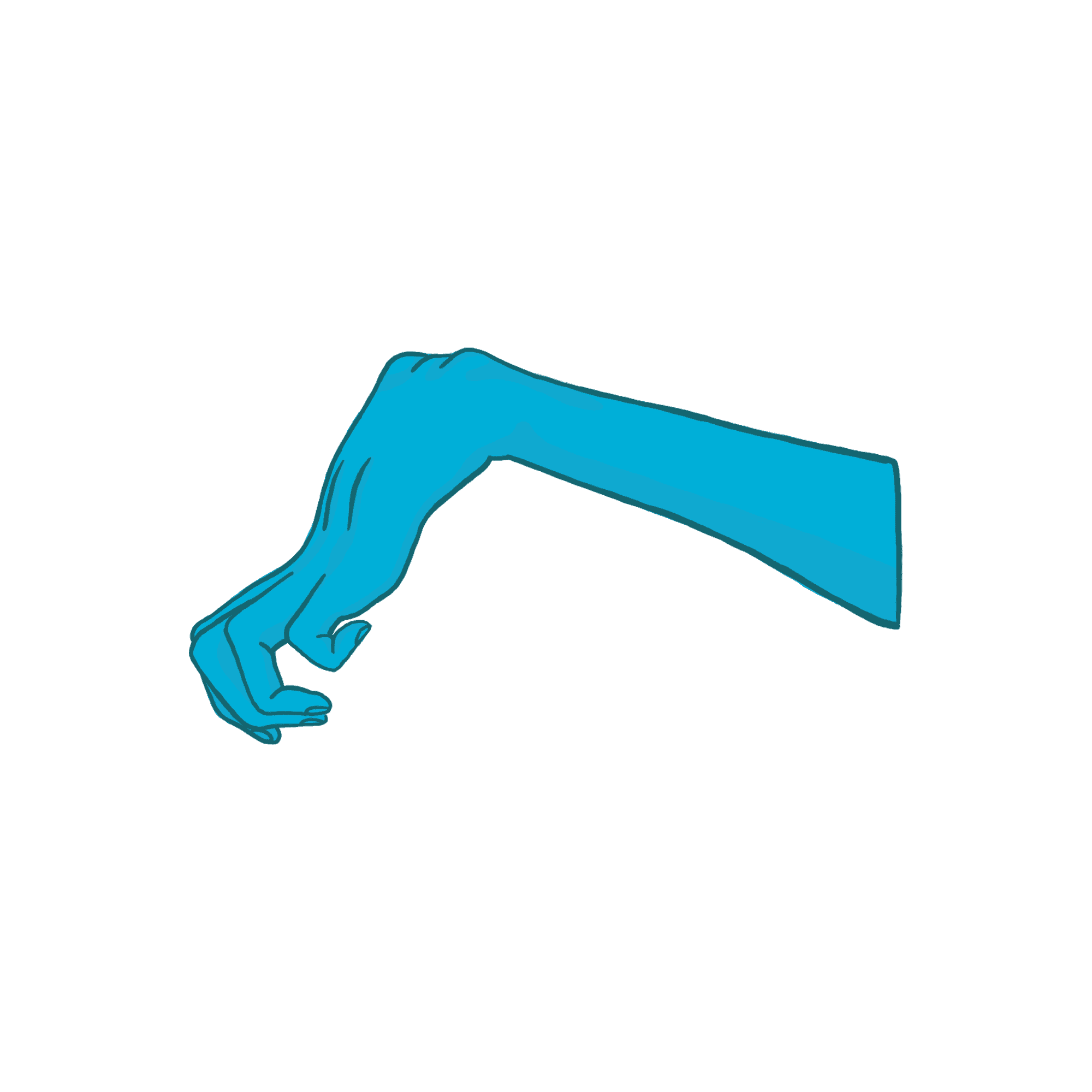 arm with hand in a claw-like position
