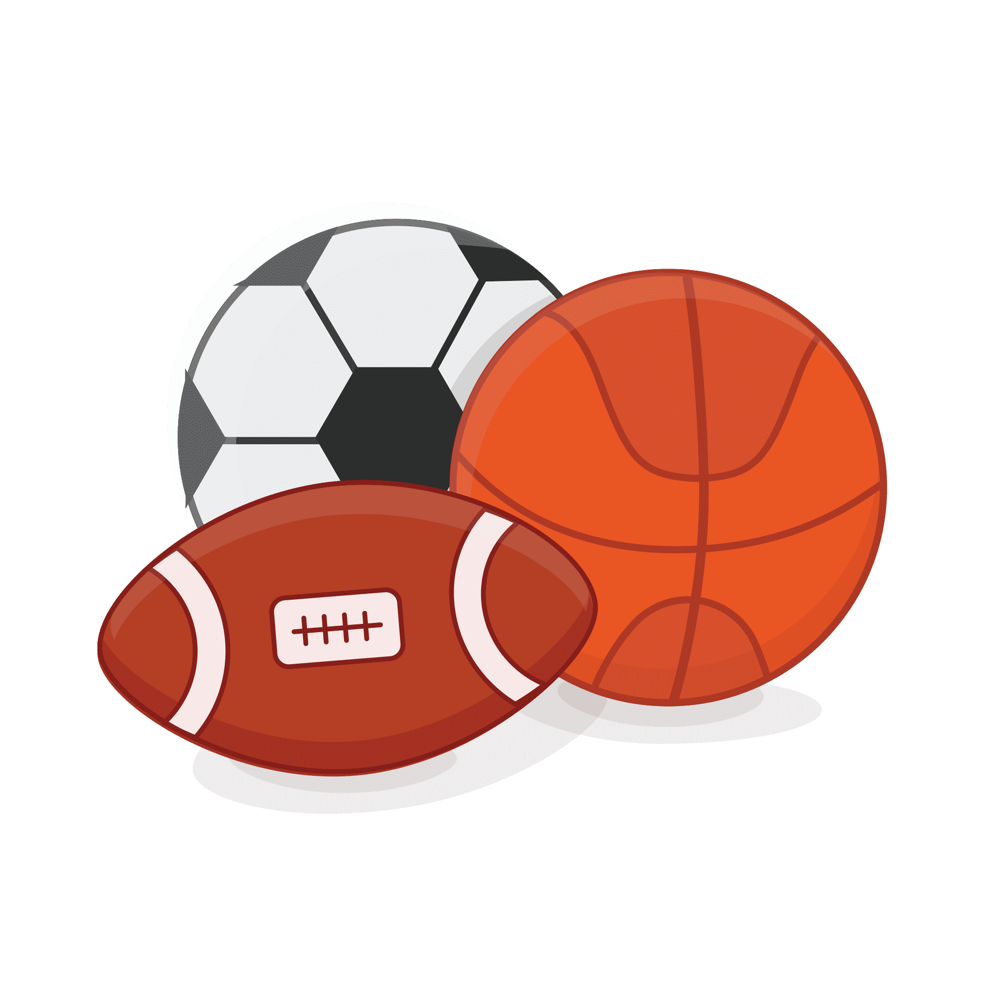 llustration of soccer ball, basketball and football