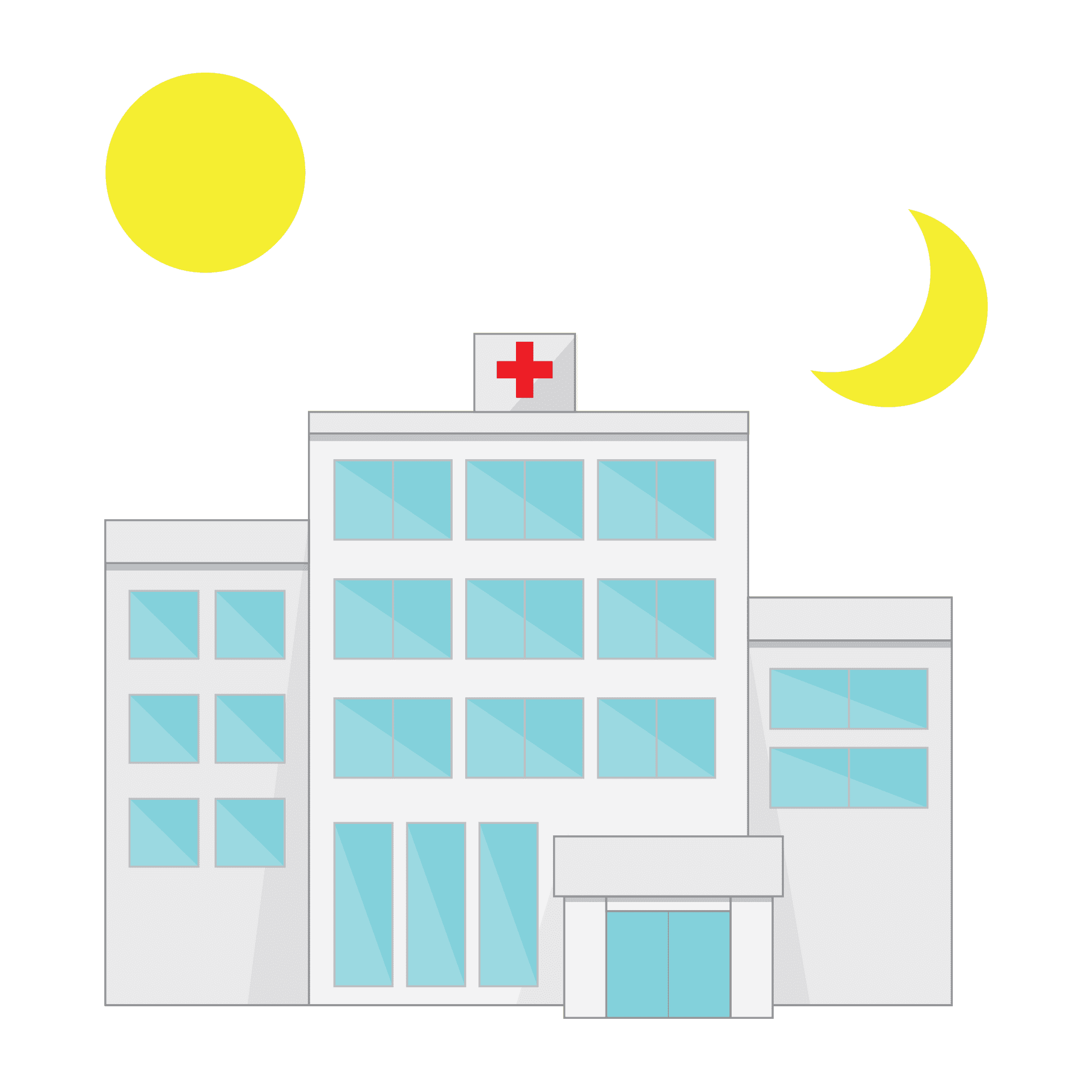 Illustration of a hospital with sun and moon above it