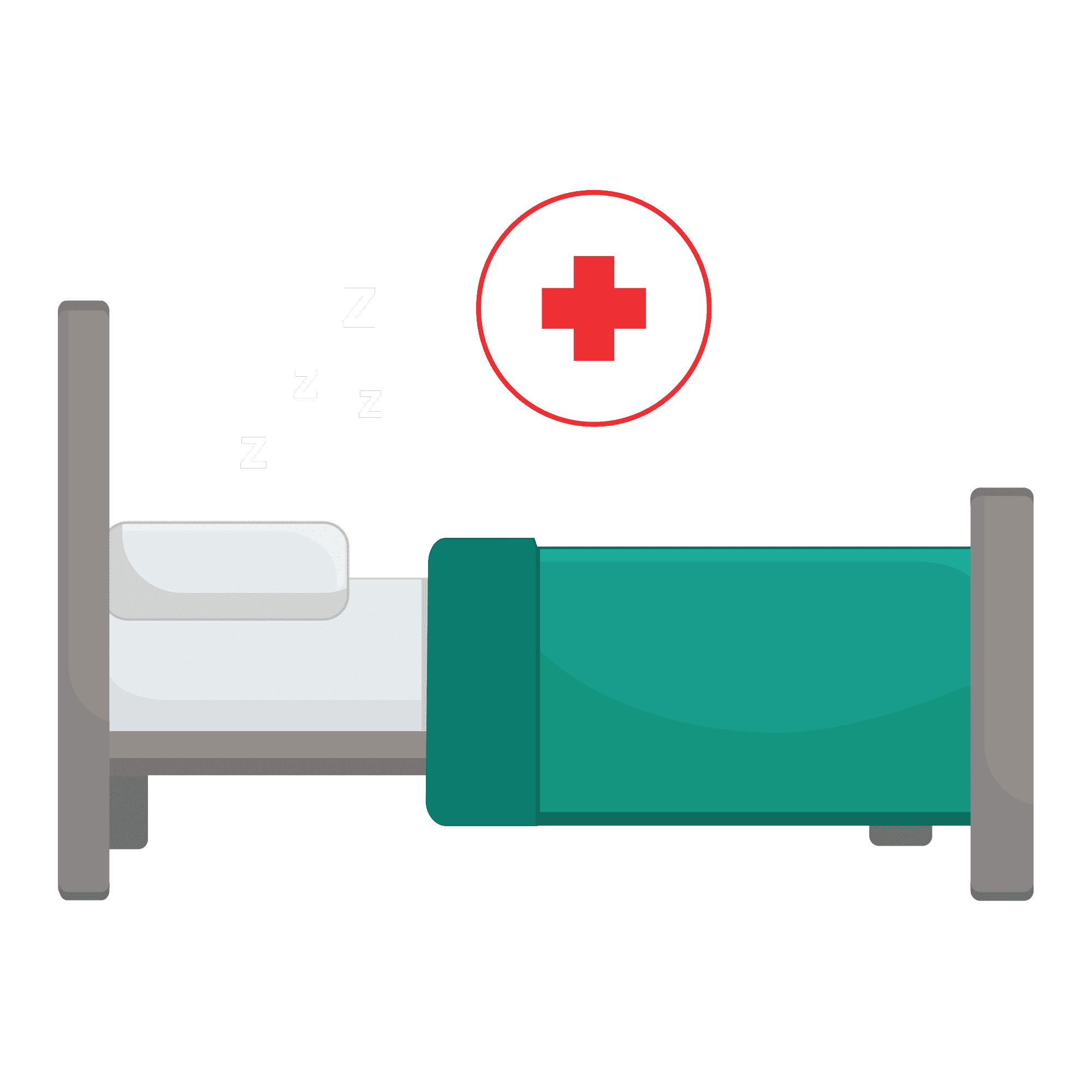 Illustration of hospital bed with z's above it