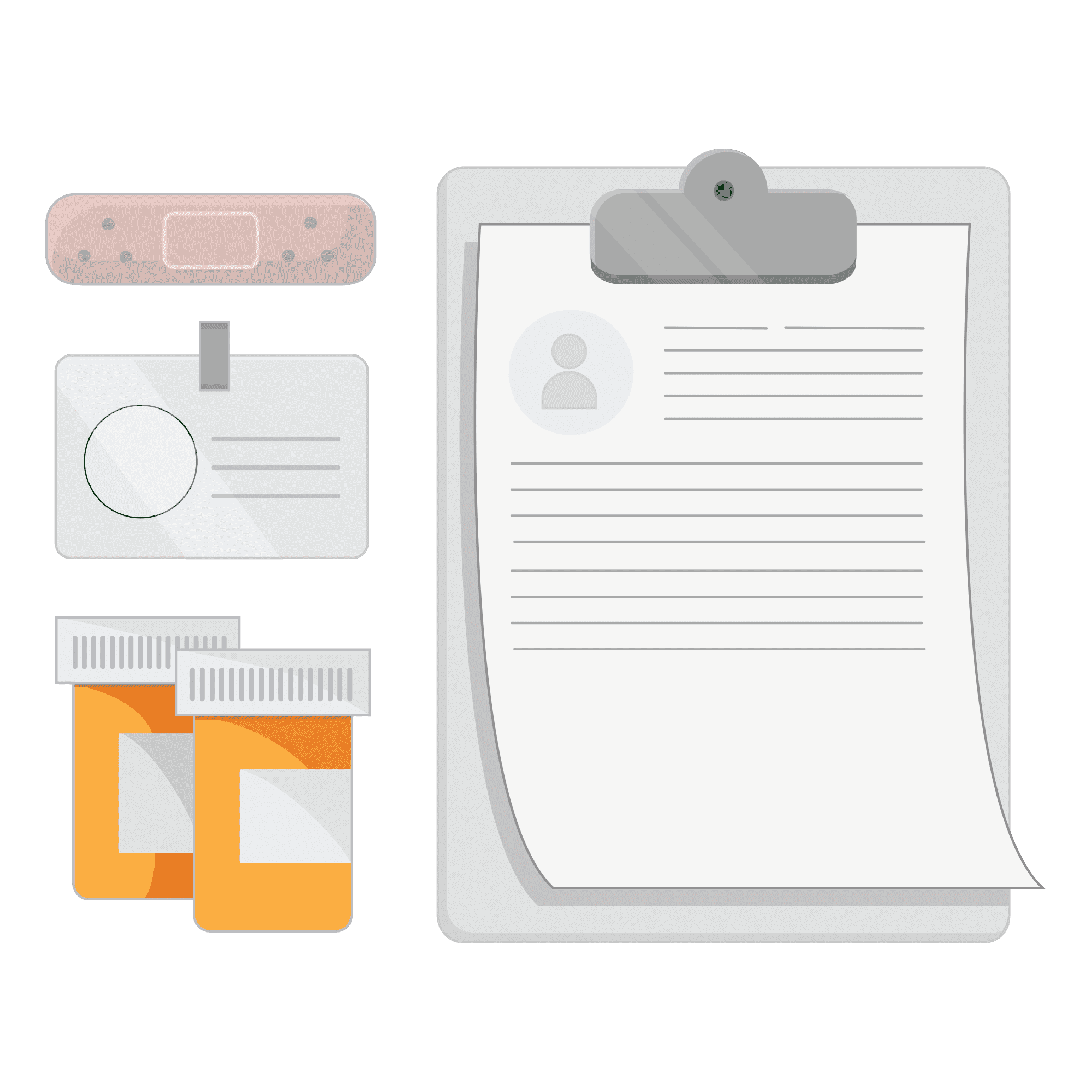 Illustration of a clipboard, badge, bandaid and pill bottle