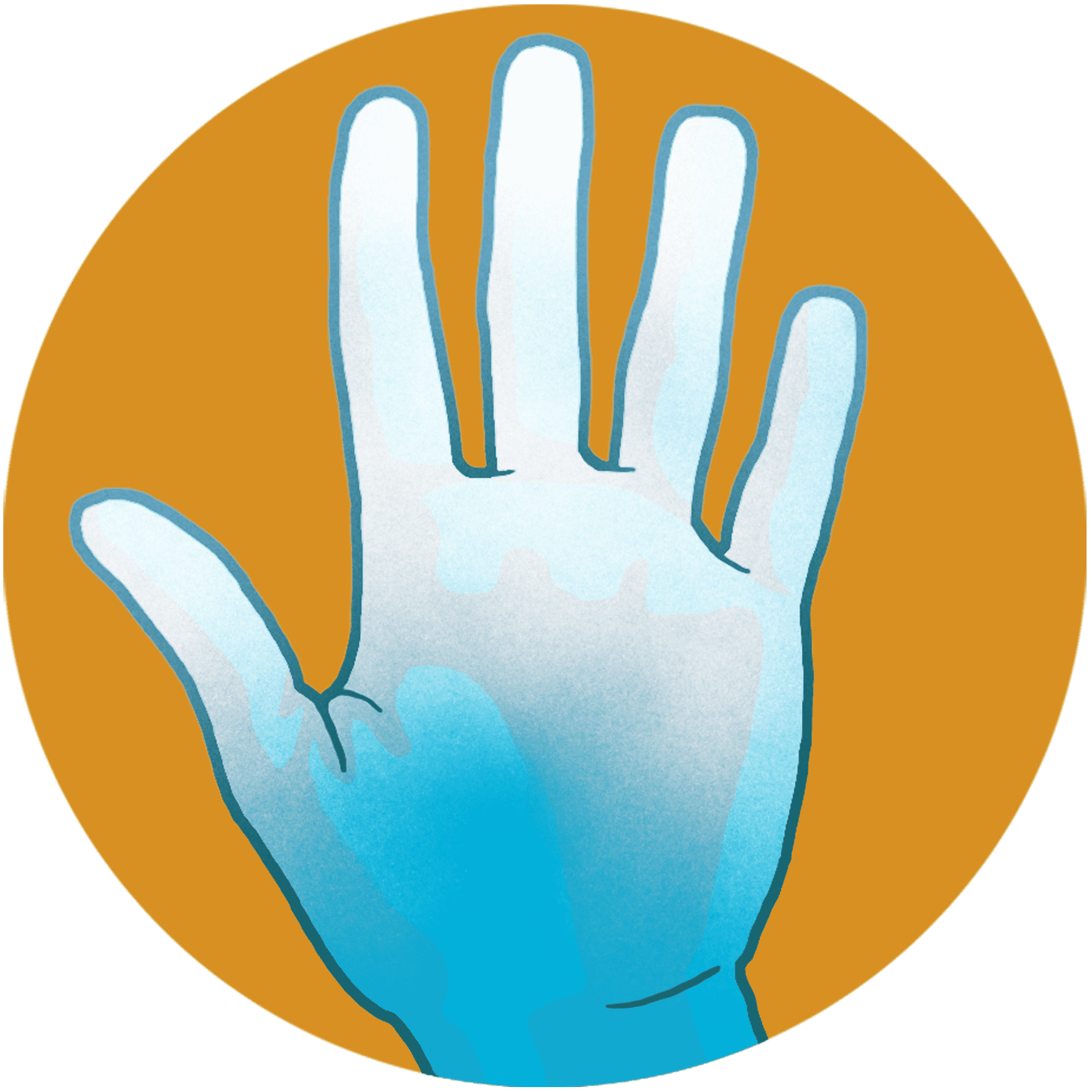illustration of almost completely white hand